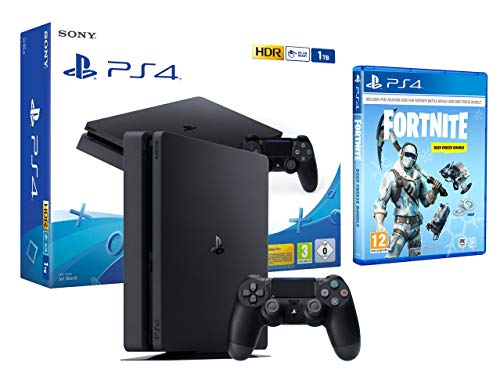 PS4 Slim 1Tb Negra Playstation 4 + Fortnite Lote de Criogenización [Incl 1000 paVos]
