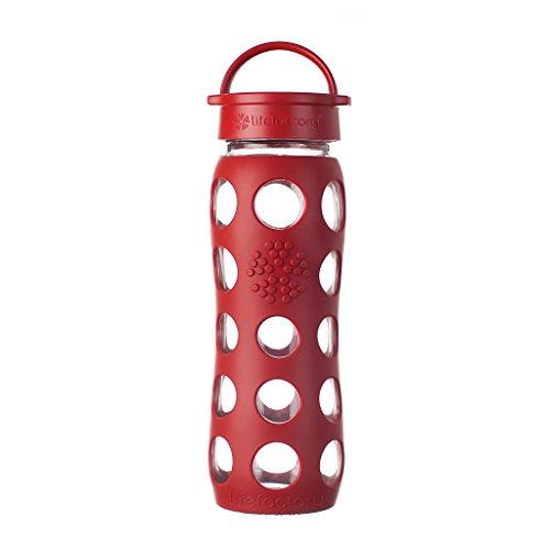 Lifefactory 13573 - Bottiglia in Vetro, 650 ml, Colore Rosso