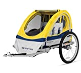 Schwinn Echo Kids/Child Double Tow Behind Bicycle Trailer, 20 inch wheel size, foldable, yellow (Renewed)