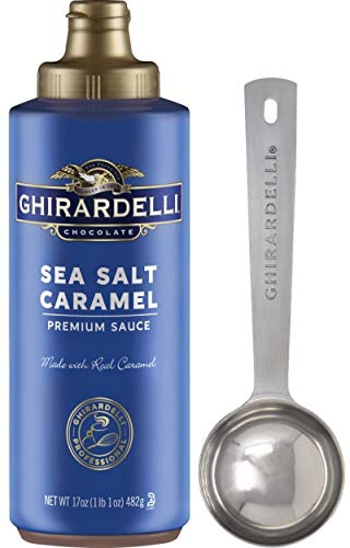 Ghirardelli - Sea Salt Caramel Flavored Sauce, 17 Ounce Squeeze Bottle - with Limited Edition Measuring Spoon