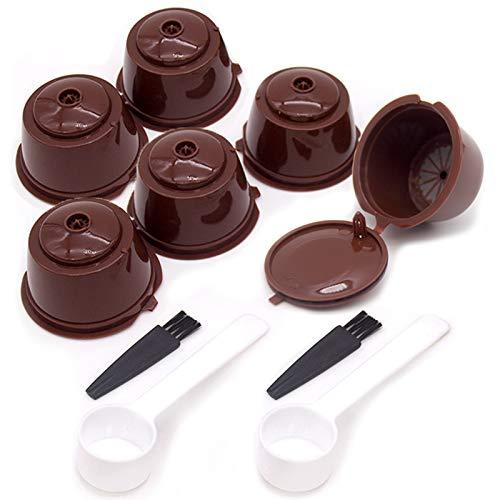 6 Pezzi Capsula Caffè Riutilizzabile Capsule per caffè ricaricabili Capsule Dolce Gusto Ricaricabili con 2 Cucchiai di Caffè 2 Spazzole Filtri capsule riutilizzabili per caffè espresso