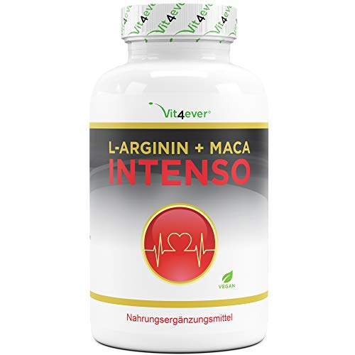 Vit4ever® L-Arginin + Maca Intenso 240 Kapseln - Extra stark mit 9800 mg pro Tagesdosierung - Hochdosierte Formel - 60 Tage Anwendung - Laborgeprüfte Qualität - Vegan
