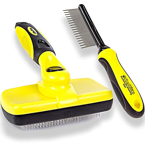 ShedTitan Self Cleaning Slicker Brush & Dematting Pet Comb Value Kit - Easy, Ideal Slicker Brush for Dogs, Goldendoodles, Poodles, Cats - Detangler Comb Removes Mats from Matted Hair, Fur for Dog, Cat