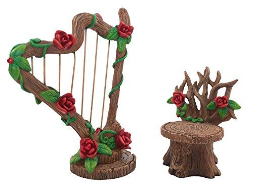 GlitZGlam Set Arpa e Sedia in Miniatura con Rose per Il Giardino delle Fate - Accessorio Giardino in Miniatura