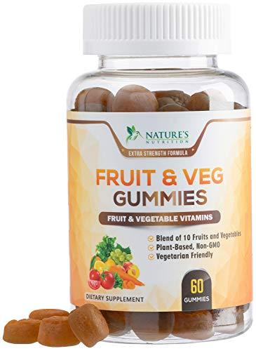 Fruit and Vegetable Gummies for Adults Extra Strength Daily Multivitamin Gummy - Premium Fruits & Veggies Blend, Best Vegan Pectin Gummy for Men & Women - 60 Gummies