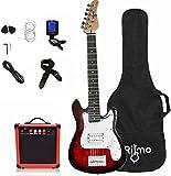 Kids 30 Inch Electric Guitar and Amp Complete Bundle Kit for Beginners-Starter Set Includes 6 String Guitar, 20W Amplifier with Distortion, 2 Picks, Shoulder Strap, Tuner, Bag Case - Red