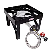 GasOne 200, 000 BTU Square Heavy- Duty Single Burner Outdoor Stove Propane Gas Cooker with Adjustable 0-20Psi Regulator & Steel Braided Hose Perfect for Home Brewing, Turkey Fry, Maple Syrup Prep