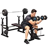 Olympic Weight Benches, Adjustable Weight Benche Set Multifunctional Weight-Lifting Bed Weight-Lifting Machine Fitness Equipment for Full-Body Workout Home Gym