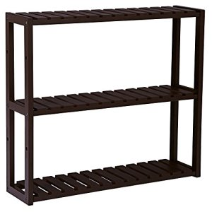 SONGMICS bamboo bathroom shelves, 3-Tier Utility Storage Shelf Rack, Bamboo Adjustable layer Bathroom Towel Shelf Multifunctional Kitchen Living Room Holder Wall Mounted Brown UBCB13Z