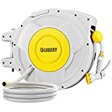 BLUBERY Hose Reel, 5/8' x 100+6.7 ft Retractable Garden Hose Reel Wall Mount with 8 Pattern Spray Nozzle, Any Length Lock, 180° Swivel Bracket, Brass Connectors, Wide Handle, Yellow Strips Hose