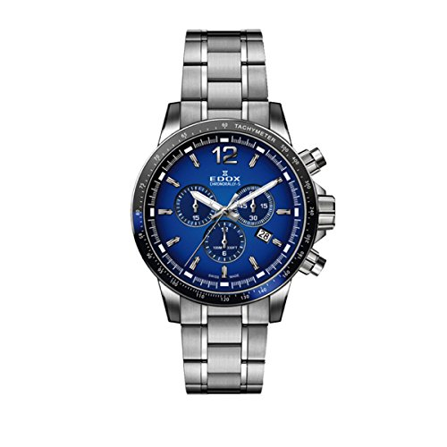 Edox Herren Chronograph Quarz Uhr mit Edelstahl Armband 10229-3NBUM-BUIN