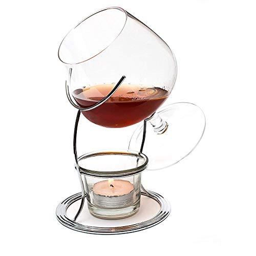 CKB Ltd Brandy & Cognac Snifter - Set regalo con portacandela e supporto in metallo Finitura cromata