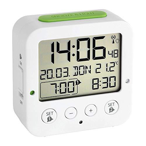 TFA Dostmann 60.2528.02 Bingo Funk-Wecker, mit autom. Hintergrundbeleuchtung, Datum, Temperaturanzeige und zwei Weckzeiten, weiß/grün,L 81 x B 33 x H 81 mm