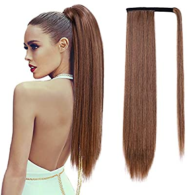 【MATRERIAL】Isaic long straight ponytail extension is made of premium synthetic fibers which looks like human hair and feel softer and smoother. 【FUNCTION】Perfect for adding volume and length. This ponytails is very easy to blend into your own hair. A...