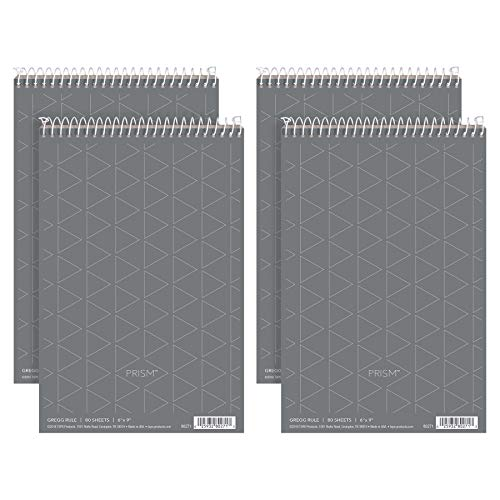 """TOPS Prism Steno Books, 6"""" x 9"""", Gregg Rule, Gray Paper, 80 Sheets, Perforated, 4 Pack (80274)"""