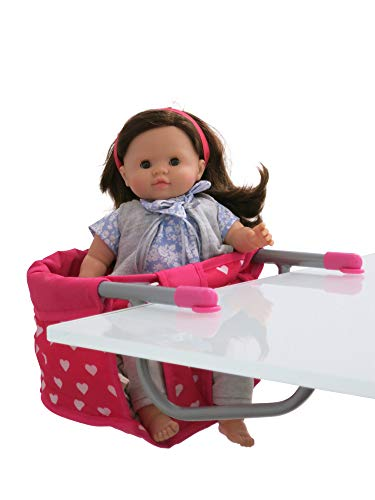 Little Rose Collection Doll High Chair Table Treat and Feeding Seat for Dolls Up to 19' Tall