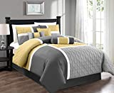 Chezmoi Collection 7-Piece Quilted Patchwork Comforter Set, Yellow/Gray, Full