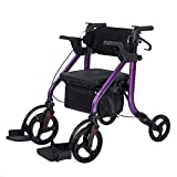 Elenker 2 in 1 Rollator Walker & Transport Chair, Folding Wheelchair Rolling Mobility Walking Aid with Seat Belt, Padded Seat and Detachable Footrests for Adult, Seniors (Purple)