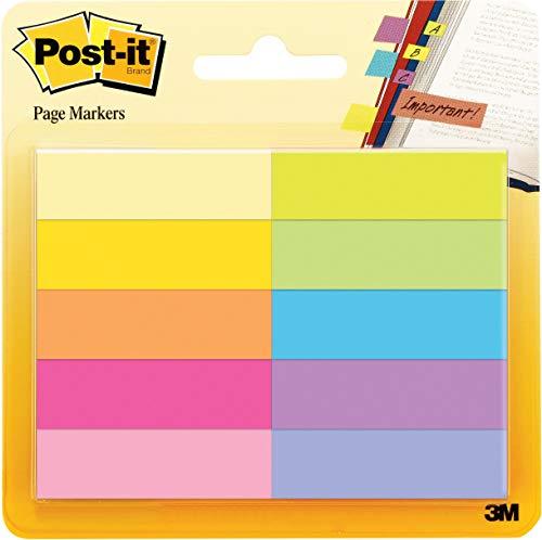 """Post-it \""""Page Marker\"""" Haftstreifen aus Papier – Schmale Klebezettel (12,7 x 44,4 mm) 10 farbige Blöcke à 50 Blatt – Klebemarkierungen farblich sortiert"""