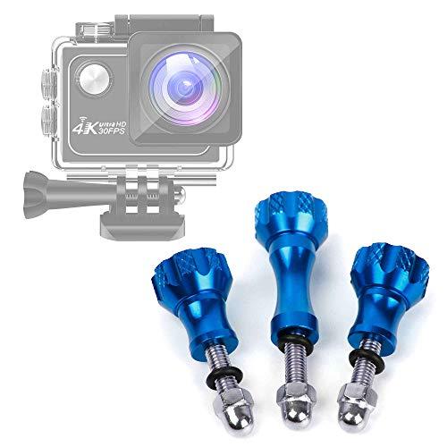 DURAGADGET Kit 3 Viti per Action Cam Panlelo V6, Panlelo V5, Hawkeye Firefly 8SE - Colore Blu