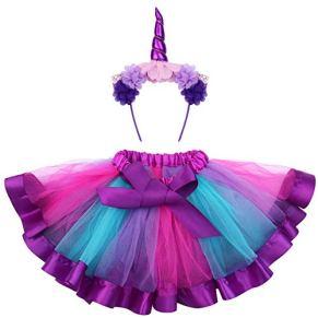 FENICAL Disfraz de Unicornio para Niñas Diadema Unicornio Floral con Oreja y Falda Tutú de Arco Iris Disfraz para Fiesta…