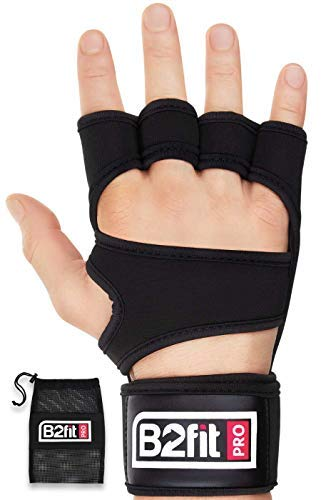 B2FIT PRO Crossfit Gloves with Wrist Support - Ventilated Weight Lifting Gloves with Genuine Leather Palm for Strong Grip - Gym Gloves for Men & Women - Ideal for Weightlifting Workout (Black, S)
