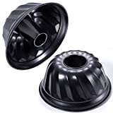 KITESSENSU 9 inch Non-Stick Bundt Pans, Premium Fluted Cake Pans for baking, Heavy Duty Carbon Steel Tube Pan Baking Mold Set of 2