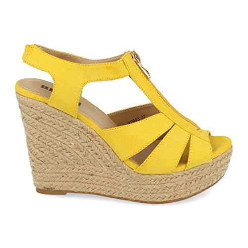 36572-Sandalia Mujer Plataforma de Yute con Cremallera Central Primavera Verano. Talla 38 Amarillo