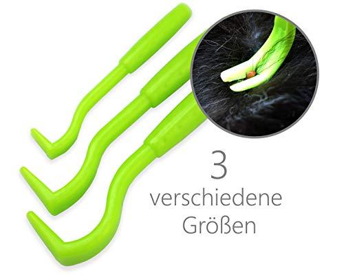 PurrCave Zeckenhaken Zeckenzange Zeckenentferner | 3er Set für versch. Größe | Anti Zeckenhebel zum Zeckenschutz für Hund Katze Pferd | Alternative zu Zeckenmittel Karte Pinzette Halsband Tabletten