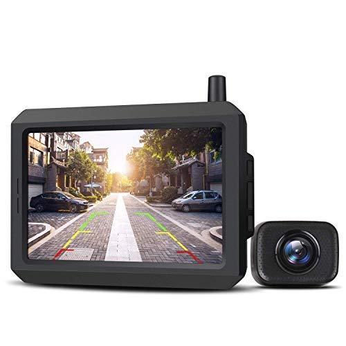 AUTO-VOX W7 Telecamera Retromarcia per Auto con Monitor LCD da 5 '', Assistenza al Parcheggio Senza Fili, Telecamera di Backup, Impermeabile IP68, Visione Notturna Eccellente