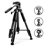 Trípode Cámara Reflex – Mactrem Trípode Completo Flexible con Rótula para DSLR EOS Canon Nikon SONY – Trípode para Viajes (Negro)