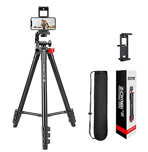 Phone Tripod, 54 Inch Video Lightweight Aluminum Camera Tripod with Phone Holder, Wireless Remote and Carry Bag for Photography/Travel/Live Streaming, Compatible with iPhone/Android/iPad/DSLR Camera