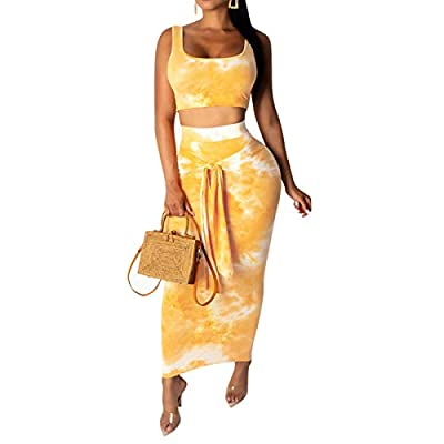 Lightweight, breathable, soft and stretchy to wear, show your best curve. Gradient multicolor printed backless slim fit club party 2 piece midi pencil dress outfits clubwear Feature: summer 2 piece bodycon dresses, sleeveless, scoop neck tank top cro...