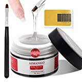 AIMANGO Builder Base Gel Nail Kit, 3 In 1 Builder Gel for Nails & Base Coat & Nail Strengthen Gel 30g Clear Nail Extension Gel Nail Art Manicure Set with 20Pcs Nail Forms and Nail Brush for Beginners