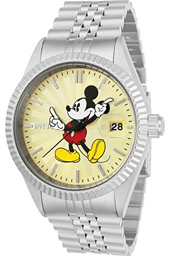 Invicta 22769 Disney Limited Edition - Mickey Mouse Herren Uhr Edelstahl Quarz Champagnerfarbe Zifferblat