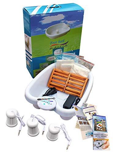 MAXEXA Optimum Ionic Foot Bath Detox Soak Machine to Remove Toxins | Personal Cleanse BioEnergizer | Detoxifying SPA Home or Beauty salon | With Basin, 90 plastic Liners, 3 Arrays, and Massage Roller