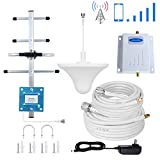 AT&T Cell Phone Signal Booster 4G LTE 700Mhz FDD Band12/17 T-Mobile ATT Cell Phone Booster Repeater AT&T Cell Signal Booster Mobile Amplifier Phonelex with Ceiling+Yagi Antenna Kits for Home Use