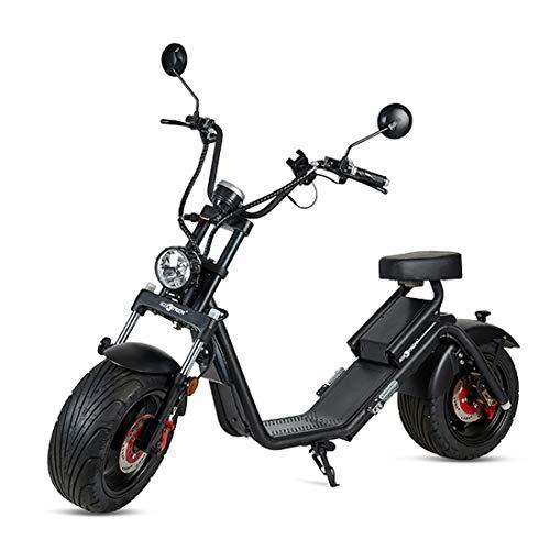 VIRTUE Moto electrica Matriculable Scooter de 1200w bateria 60v 20Ah Caigiees Patinete Bici Chopper City Coco matricula Color Negro
