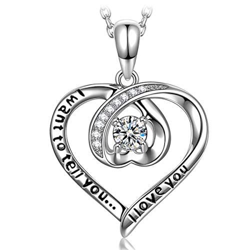 ANGEL NINA Collar con colgante de corazón para mujer Collar de corazón para ella Collar de corazón de plata para mujer Collar de plata 925 para mujer Regalo para su joyería Regalos para mujer