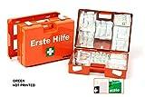 LEINA-WERKE 21012 QUICK - Maletín de primeros auxilios (sin impresión, con contenido: DIN 13157, 10 unidades), color verde