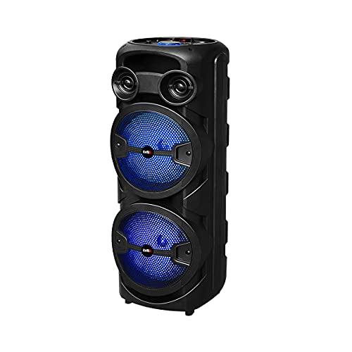 Altoparlante Bluetooth BSL-S60 con illuminazione RGB | 2 altoparlanti da 8 pollici | 2 x 15 W RMS | Batteria di 4 ore di durata | Funzione Karaoke | Radio FM | USB | TF