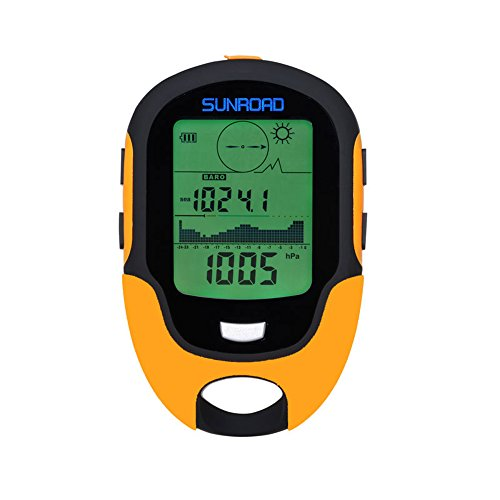 SUNROAD Mini Multifunction Men's Barometer Altimeter Compass LCD Digital Thermometer Watches-Hygrometer Weather Forecast Hand-Hold Hiking Flashlight Altimeter