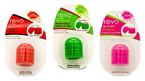 REVO Lip Balm   3 Pack (Cherry, Strawberry & Watermelon)