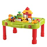 Minne Baby 3-in-1 Kids Activity Table, Build and Learn Table, Building Blocks Kit - Foldable Activity Desk, Play Board, and Toy Storage - Perfect for Children 3 Years Old and Up