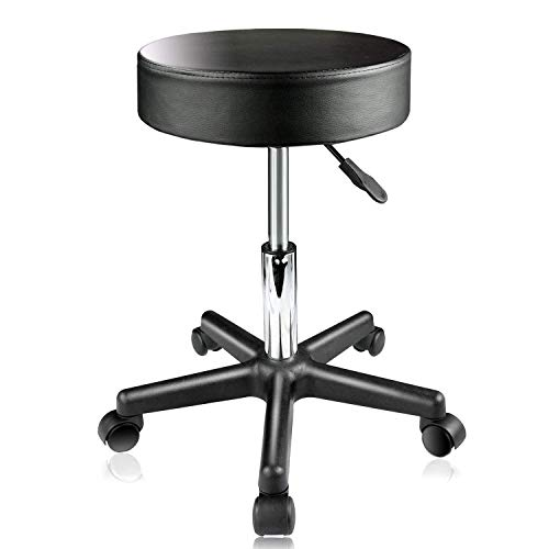 PARTYSAVING Supportive Adjustable Hydraulic Rolling Swivel Stool for Massage and Salon Office Facial Spa Medical Tatoo Chair Cushion & Wheels – Extra Large, APL1159