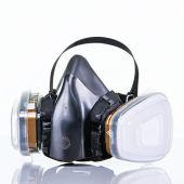 Respiratore Semimaschera Professionale Doppio Filtro | Maschera Antipolvere Antigas Anti Polveri Gas Vapori 4 FILTRI OMAGGIO | Protezione Verniciatura Falegname Saldatura Solventi Chimici