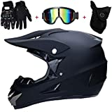 Motocross Crash Helmet with Goggles Mask Gloves, DOT Motorcycle Off-Road Matte Black DH Enduro Racing Downhill Dirt Bikes MTB ATV BMX Quads Motorbike Helmet for Adult Men Women,L