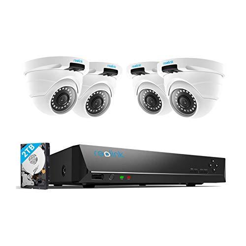 Reolink 4MP Kit Videosorveglianza PoE, 8CH 2TB NVR con 4X 4MP Telecamera Esterno IP PoE Impermeabile, Sistema di Sorveglianza con Visione Notturna di 30 Metri, Registrazione 24/7, RLK8-420D4-4MP