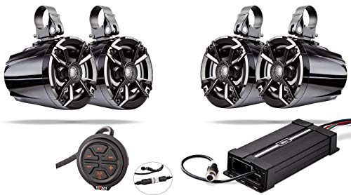 NOAM NUTV5 Quad - Marine ATV/Golf Cart/UTV Stereo System kit  Including 4 Waterproof Tower Speakers, Weatherproof Controller/Head Unit with Bluetooth and AUX Input and Four Channels Amplifier