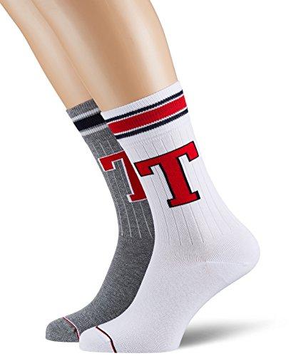 Tommy Hilfiger Men Th Patch Sock 2p Calze, Grigio (Middle Grey Melange 758), 43 (Taglia Produttore: 043) (Pacco da 2) Uomo